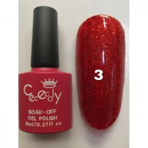 Гель лак Cececoly red diamond gel красный 003